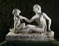 group of a bacchante and young satyr by jean-marie camus