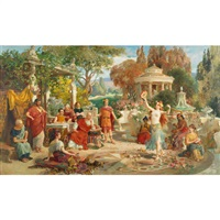 harem girls performing in a roman garden by emmanuel oberhauser
