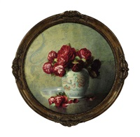 still life of red roses in a vase by isidore rosenstock