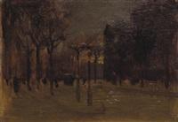 winter twilight, central park south by paul cornoyer