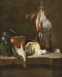 still life with a ray-fish, a basket of onions, eggs, cheese, a green jug and a copper pot, with a mortar and pestle on a stone ledge by jean baptiste siméon chardin
