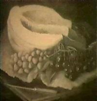 stilleben med melon, korsbar och jordgubbar by mathilda brantstrom