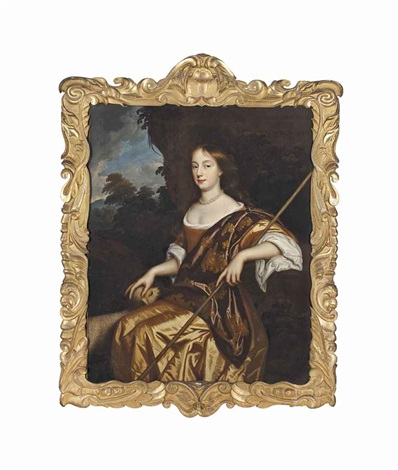 portrait of elizabeth adams as a shepherdess three quarter length seated in a gold dress her left hand resting on a crook with a lamb by sir peter lely