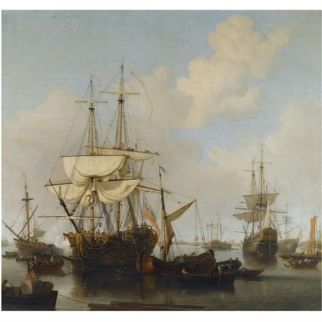 shipping at anchor in the thames estuary near wapping by samuel scott