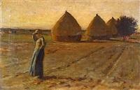 paysanne dans un champs de meules by jean-charles cazin
