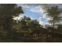 travellers on a country path, before an italianate landscape by cornelis huysmans
