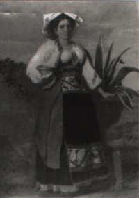 a portrait, full length, of a girl by edmund eagles