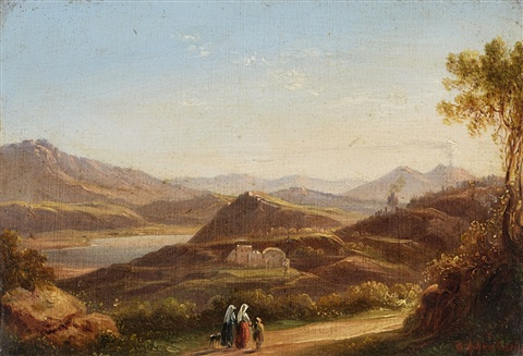 lago di agnano near naples with a view of vesuvius by oswald achenbach