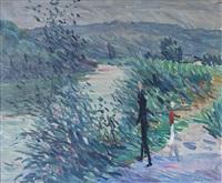 promeneurs au bord de la rivière by emile sabouraud