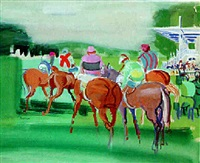 saint-cloud, jockeys vers la grande tribune by jean mablord