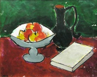 still life with fruit and book by ion pacea