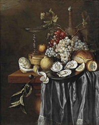 a peeled lemon, a venetian glass, a clementine, blue and white grapes, lemons, oysters on a pewter plate, and a jug, all on a partially draped table by jan davidsz de heem