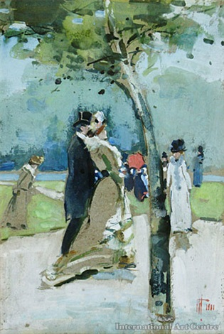 figures in hyde park london by frances mary hodgkins