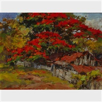 kampong cottage with flamboyant tree (dessableu?) by gerard adolfs