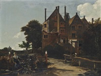 a wooded landscape with washerwomen beside a house by ludolf de jongh