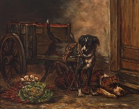 two dogs by a vegetable cart by henriette ronner-knip