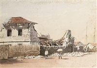 the government tobacco warehouses after the 1863 earthquake, manila, philippines by charles w. andrews