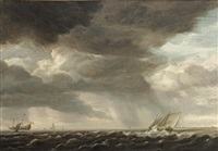 a two-master and smaller sailing vessels in rough waters by pieter mulier the elder