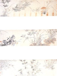 orchids, bamboo, lingzhi and rocks by ma shouzhen