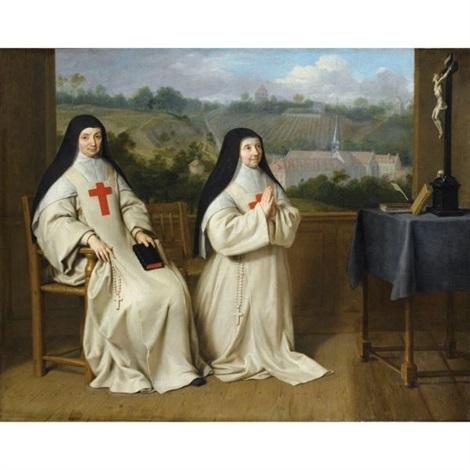 portrait de mère agnès et soeur angélique de labbaye de port royal des champs by philippe de champaigne