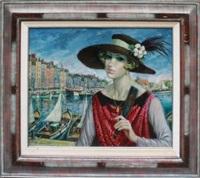 femme au chapeau, honfleur by francois batet