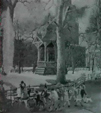 parade, or old bandstand on washington square new york by carl gustaf simon nelson