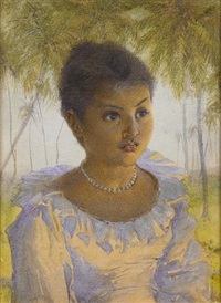 south east asian lady (+ a japanese lady; pair) by alfred edward emslie