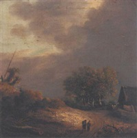 a wooded landscape with figures on a path by cornelis hendriksz vroom