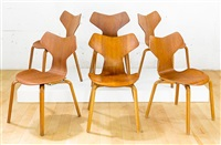 rare set of six original grand prix model 3310 dining chairs by arne jacobsen