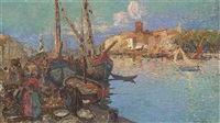 a fishmarket on the key, the south of france by louis azema