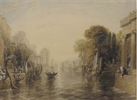 classical figures in an arcadian landscape by william linton
