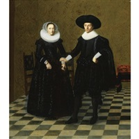 portrait of a gentleman and his wife in black embroidered dress with white collars, standing full length in an interior by dirck dircksz van santvoort
