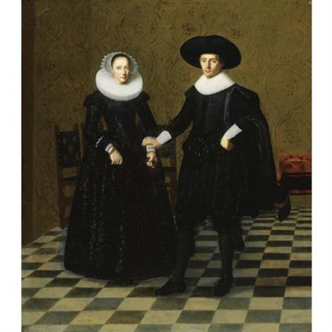 portrait of a gentleman and his wife in black embroidered dress with white collars standing full length in an interior by dirck dircksz van santvoort