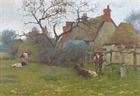 cattle in a field beside a cottage by william blandford fletcher