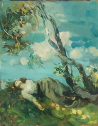 junge frau unter einem baum ruhend by ambrogio antonio alciati
