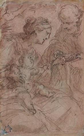 la sainte famille et personnages tenant un plateau recto verso by giulio cesare procaccini