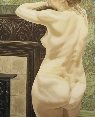 female model leaning on mantel by philip pearlstein