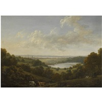 view of southampton across the river itchen, with southampton water beyond by john tobias young