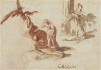a woman addressing a prostrate man in front of a tree, and a subsidiary study of a kneeling woman by andrea di leone