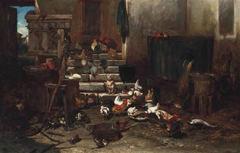 a dog and poultry on the farm steps by philibert leon couturier
