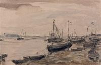 barques et voiliers à marée basse à etaples by eugène boudin