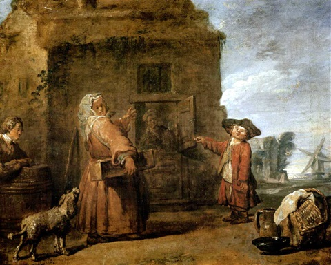 peasants by a hut in a landscape by jean baptiste siméon chardin