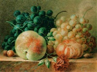 a still life with a peach, grapes and nuts by maria gertrude goeje-barbiers