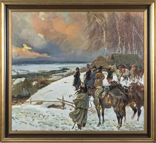 napoleon crossing berezyna river by woiciech aldabert ritter von kossak