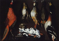 nature morte avec un faisan, des perdrix, un canard et des pigeons sur un entablement by alessandro de loarte