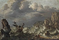 a ship wreck near a rocky coast in rough seas by bonaventura peeters the elder
