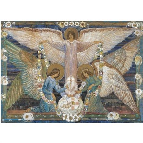 angels garlanding the infant christ by ann macbeth