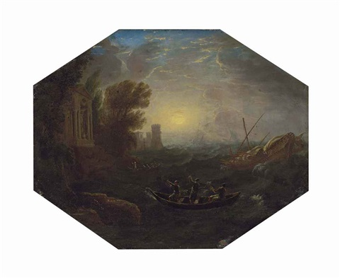 la tempête a mediterranean costal landscape with rowing boats and a galley in rough seas a seaside temple and a tower other vessels beyond by claude lorrain