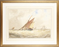 shipping in rough seas (+ 2 others, smlr; 3 works) by frederick james aldridge