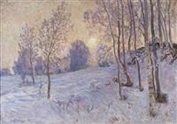 solbelyst vinterlandskap by anton genberg